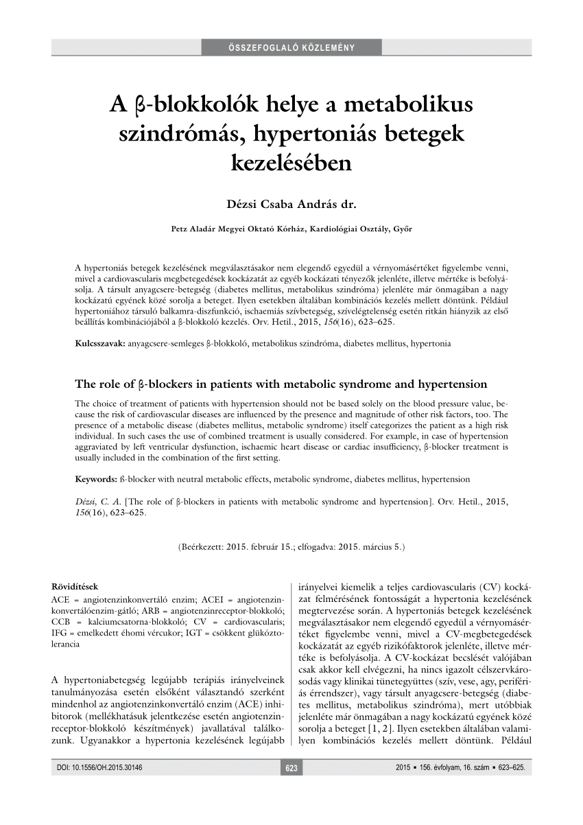 hipertónia kezelésének tanulmányozása