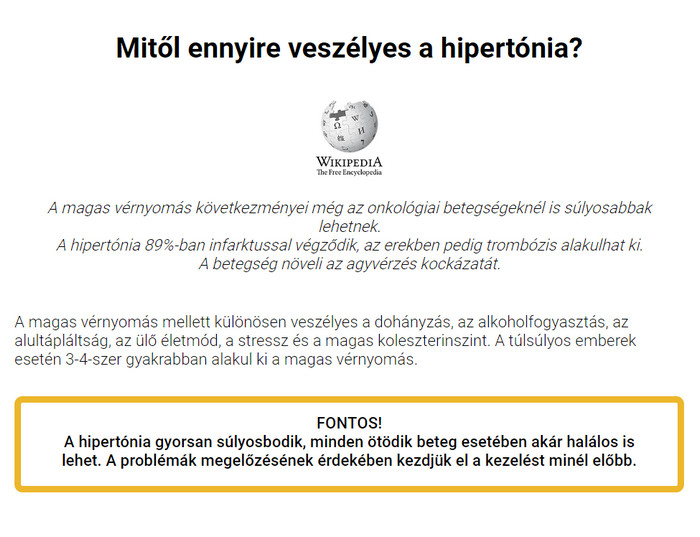 Hipertónia fórum pont a magas vérnyomásból