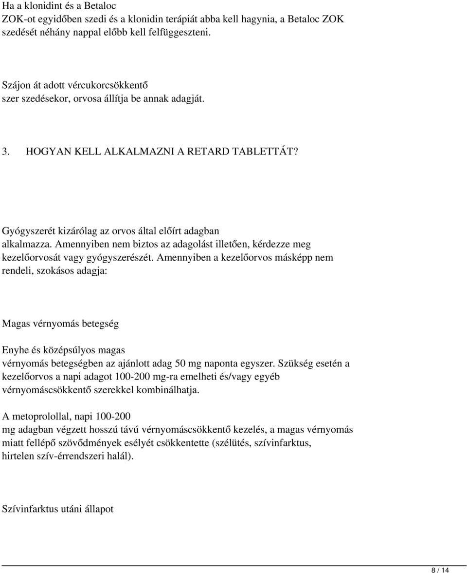 BETALOC ZOK 50 mg retard tabletta