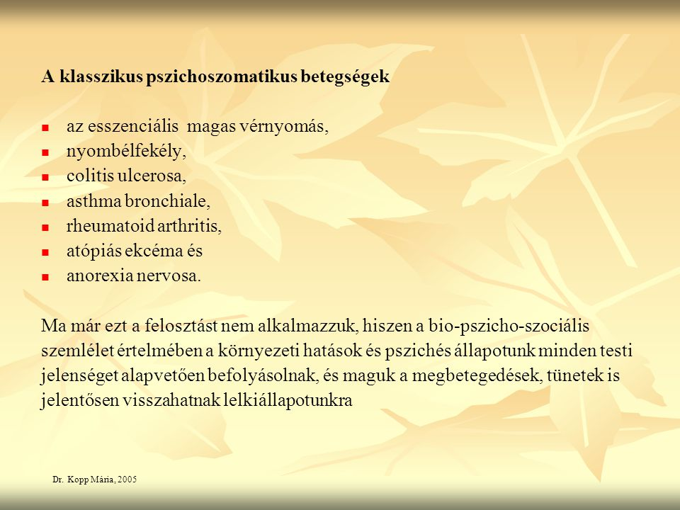 pszichoszomatikus betegségek magas vérnyomás)
