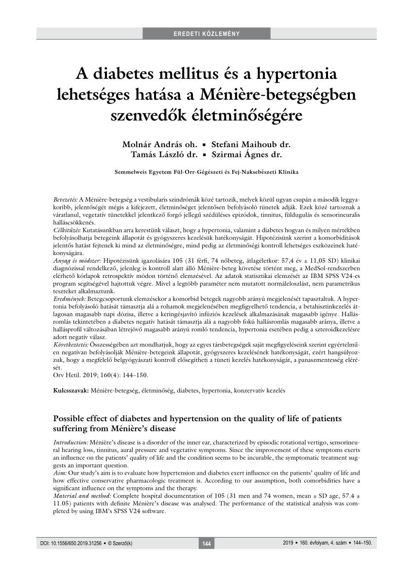 a 2-es típusú diabetes mellitus hipertónia együttes kezelése hirudoterápia pont hipertónia esetén